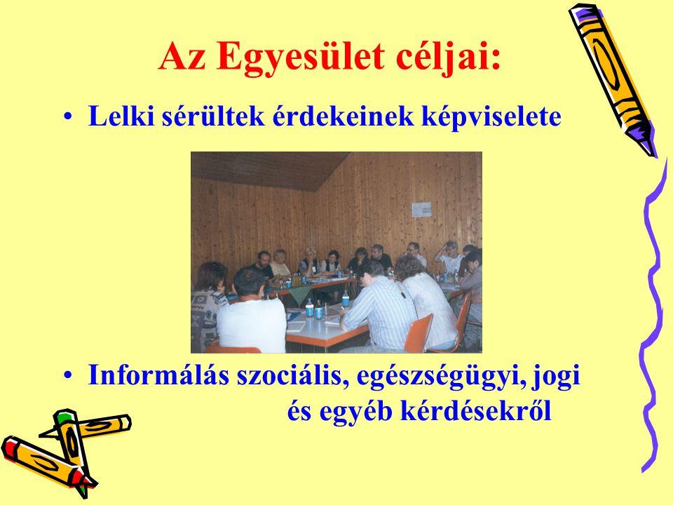 Az Egyesület céljai: •Lelki sérültek érdekeinek képviselete •Informálás szociális, egészségügyi, jogi és egyéb kérdésekről