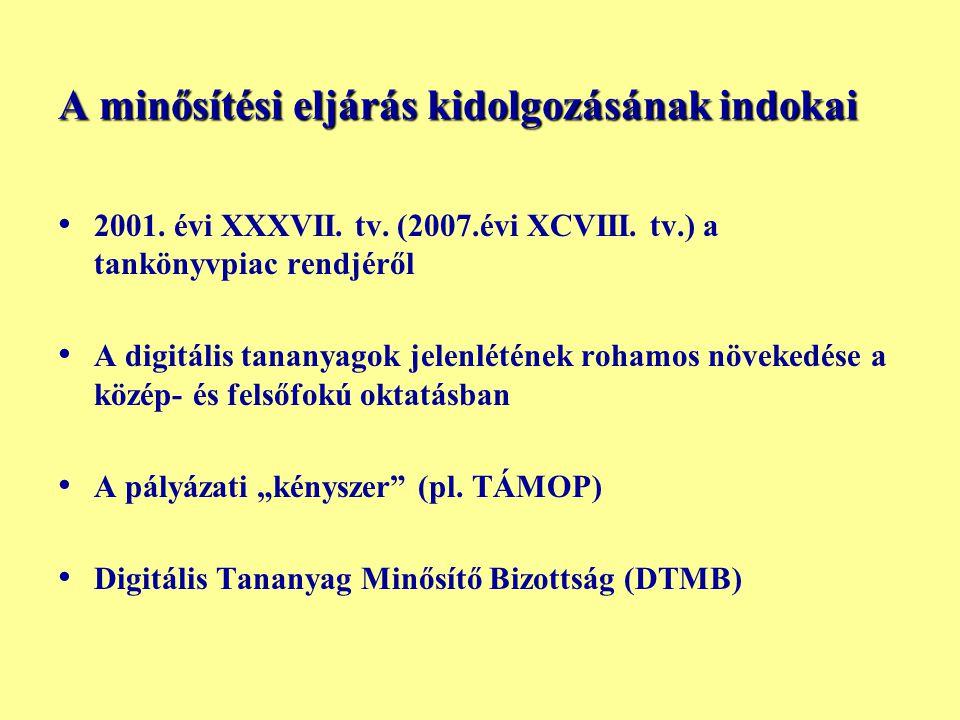 A minősítési eljárás kidolgozásának indokai • • 2001. évi XXXVII. tv. (2007.évi XCVIII. tv.) a tankönyvpiac rendjéről • • A digitális tananyagok jelen