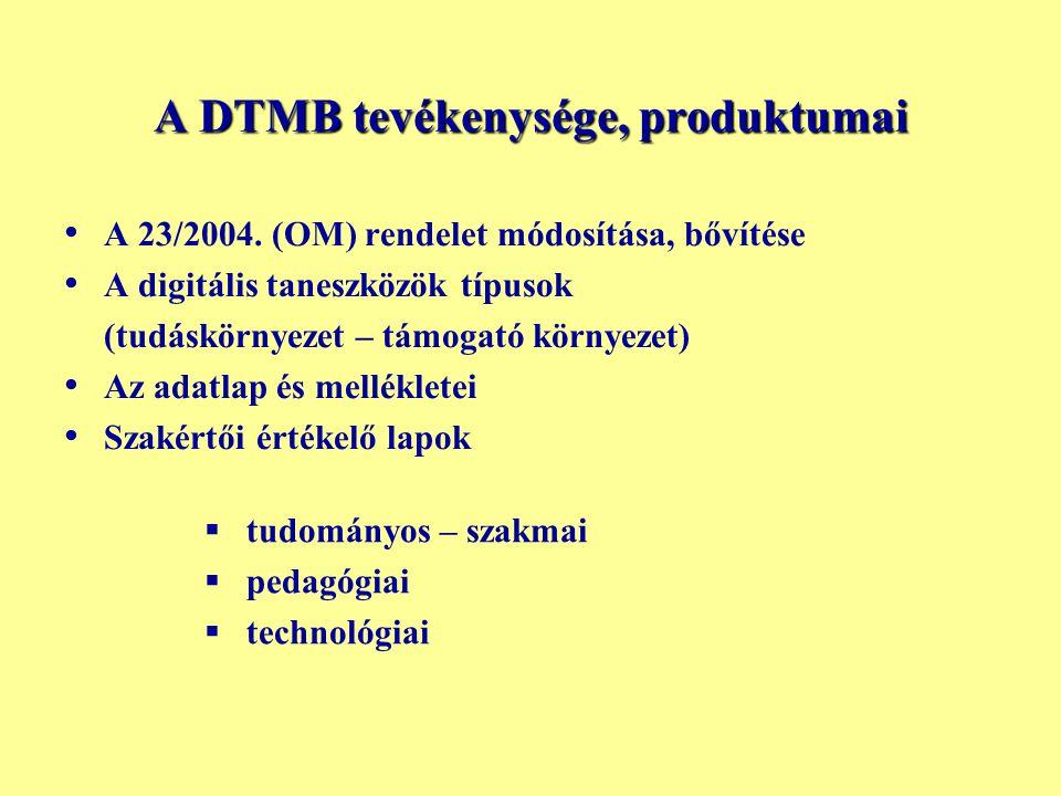 A DTMB tevékenysége, produktumai • • A 23/2004. (OM) rendelet módosítása, bővítése • • A digitális taneszközök típusok (tudáskörnyezet – támogató körn