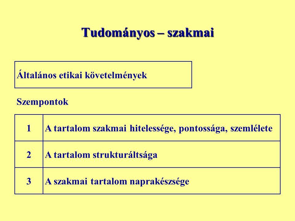 Tudományos – szakmai Általános etikai követelmények Szempontok 1A tartalom szakmai hitelessége, pontossága, szemlélete 2A tartalom strukturáltsága 3A