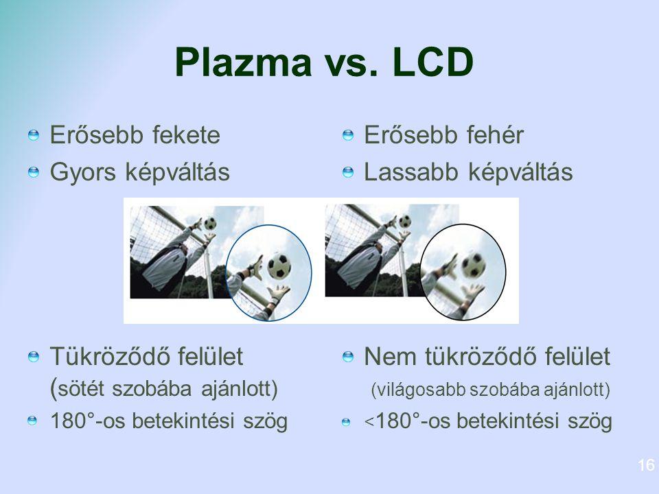 Plazma vs. LCD Erősebb fekete Gyors képváltás Tükröződő felület ( sötét szobába ajánlott) 180°-os betekintési szög Erősebb fehér Lassabb képváltás Nem