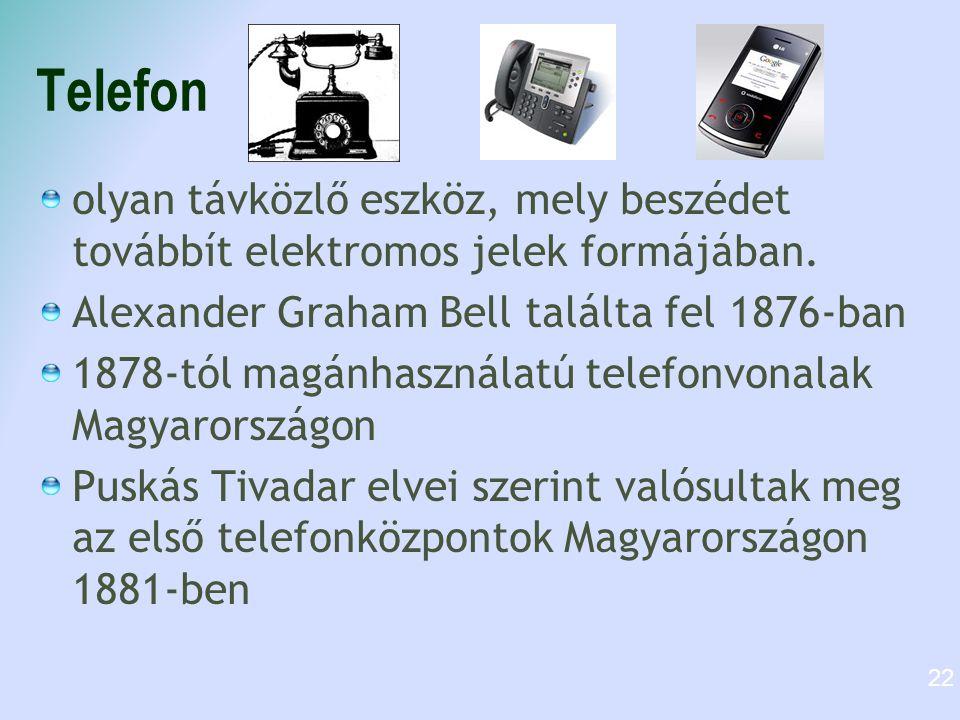 Telefon olyan távközlő eszköz, mely beszédet továbbít elektromos jelek formájában. Alexander Graham Bell találta fel 1876-ban 1878-tól magánhasználatú