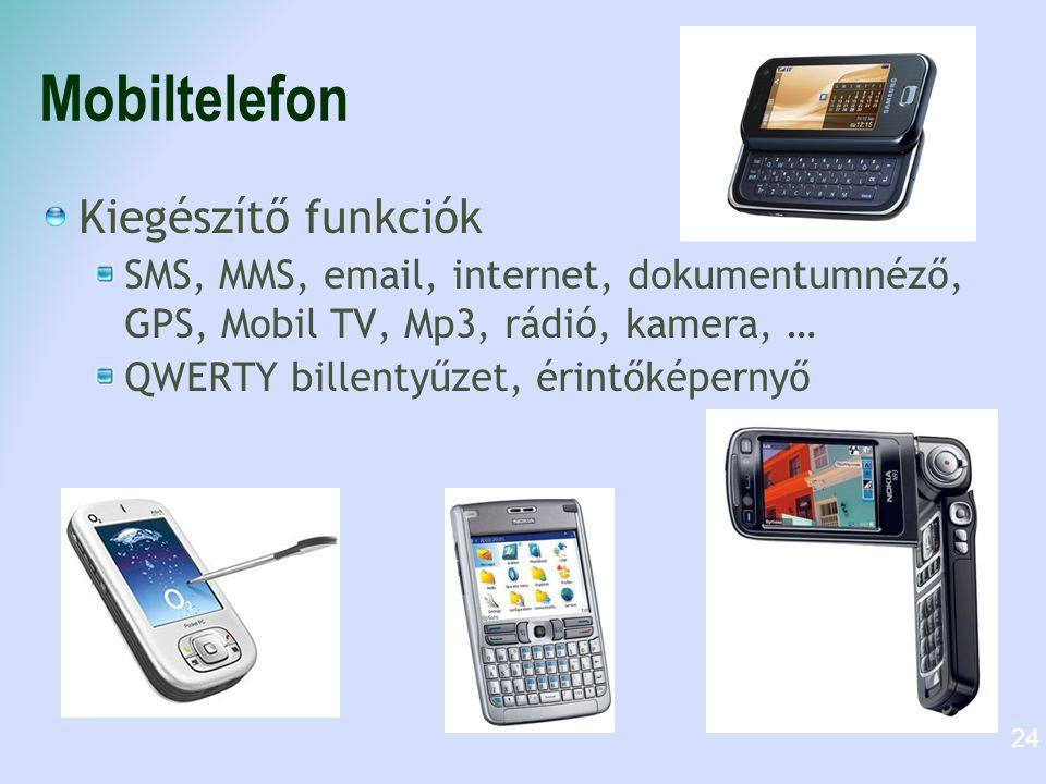 Mobiltelefon Kiegészítő funkciók SMS, MMS, email, internet, dokumentumnéző, GPS, Mobil TV, Mp3, rádió, kamera, … QWERTY billentyűzet, érintőképernyő 24