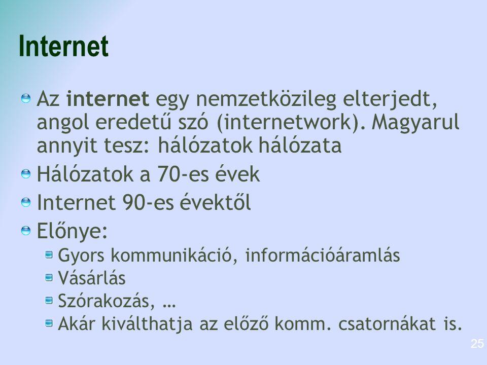 Internet Az internet egy nemzetközileg elterjedt, angol eredetű szó (internetwork). Magyarul annyit tesz: hálózatok hálózata Hálózatok a 70-es évek In