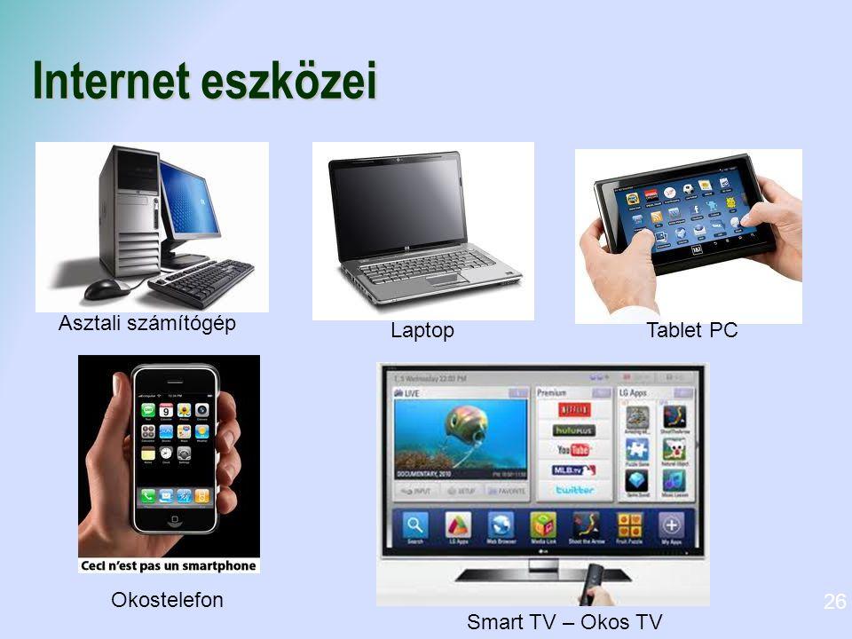 Internet eszközei 26 Asztali számítógép LaptopTablet PC Okostelefon Smart TV – Okos TV
