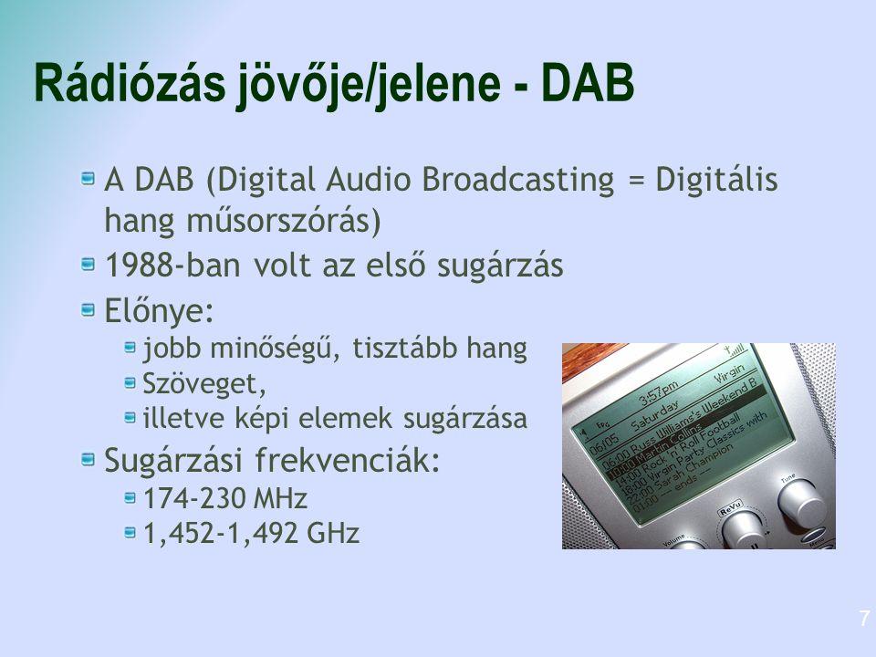 Rádiózás jövője/jelene - DAB A DAB (Digital Audio Broadcasting = Digitális hang műsorszórás) 1988-ban volt az első sugárzás Előnye: jobb minőségű, tis