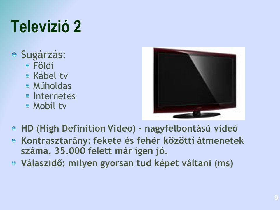 Televízió 2 Sugárzás: Földi Kábel tv Műholdas Internetes Mobil tv HD (High Definition Video) - nagyfelbontású videó Kontrasztarány: fekete és fehér kö