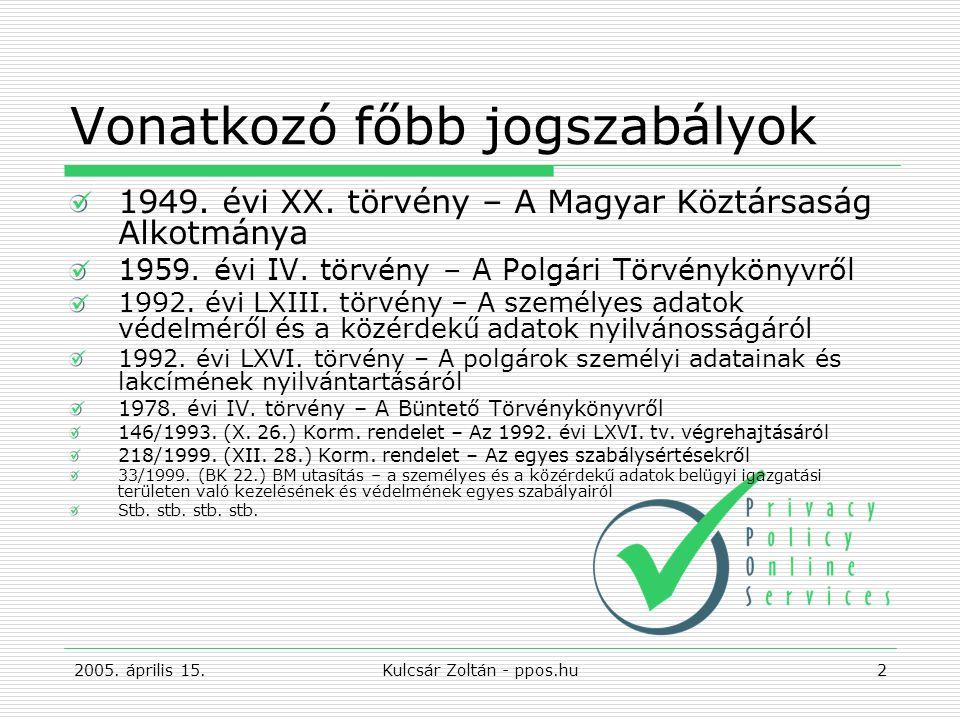 2005. április 15.Kulcsár Zoltán - ppos.hu2 Vonatkozó főbb jogszabályok 1949.