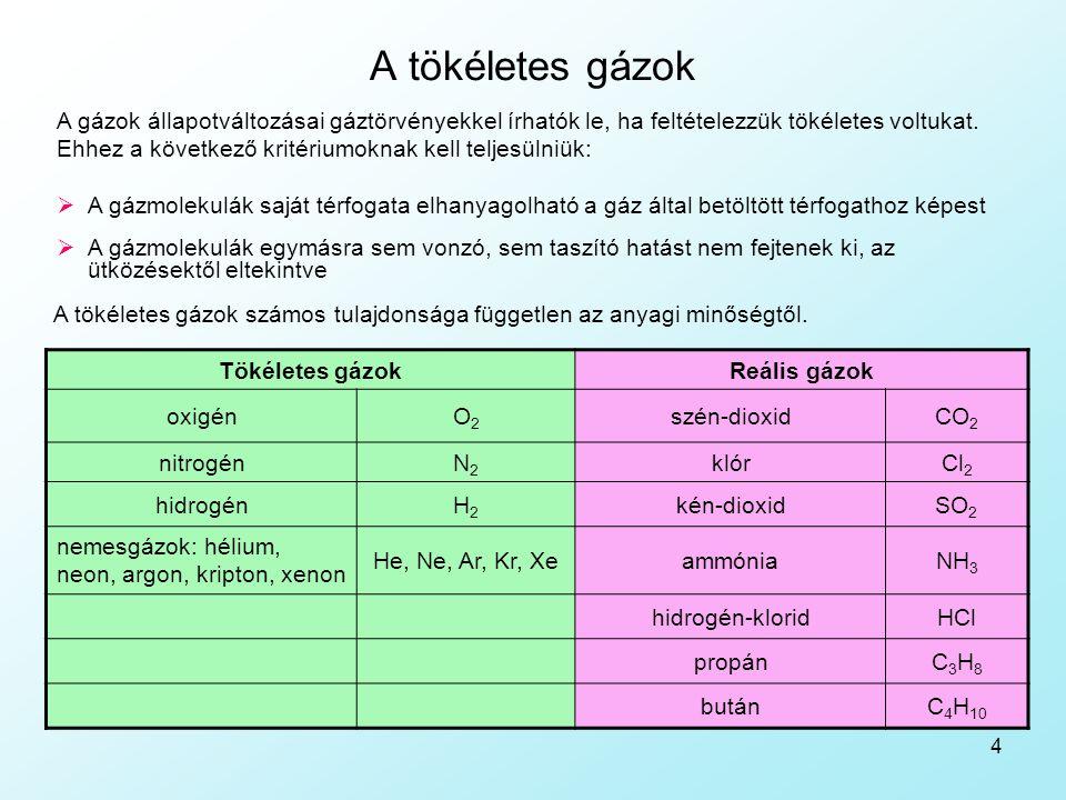 4 A tökéletes gázok A gázok állapotváltozásai gáztörvényekkel írhatók le, ha feltételezzük tökéletes voltukat. Ehhez a következő kritériumoknak kell t