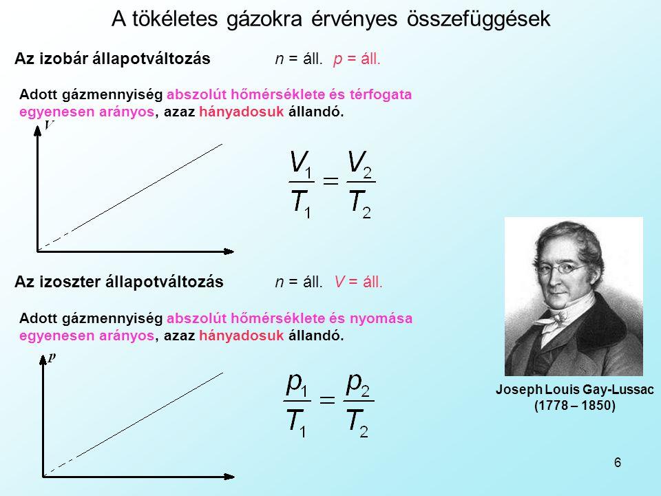 6 A tökéletes gázokra érvényes összefüggések n = áll. p = áll.Az izobár állapotváltozás Adott gázmennyiség abszolút hőmérséklete és térfogata egyenese