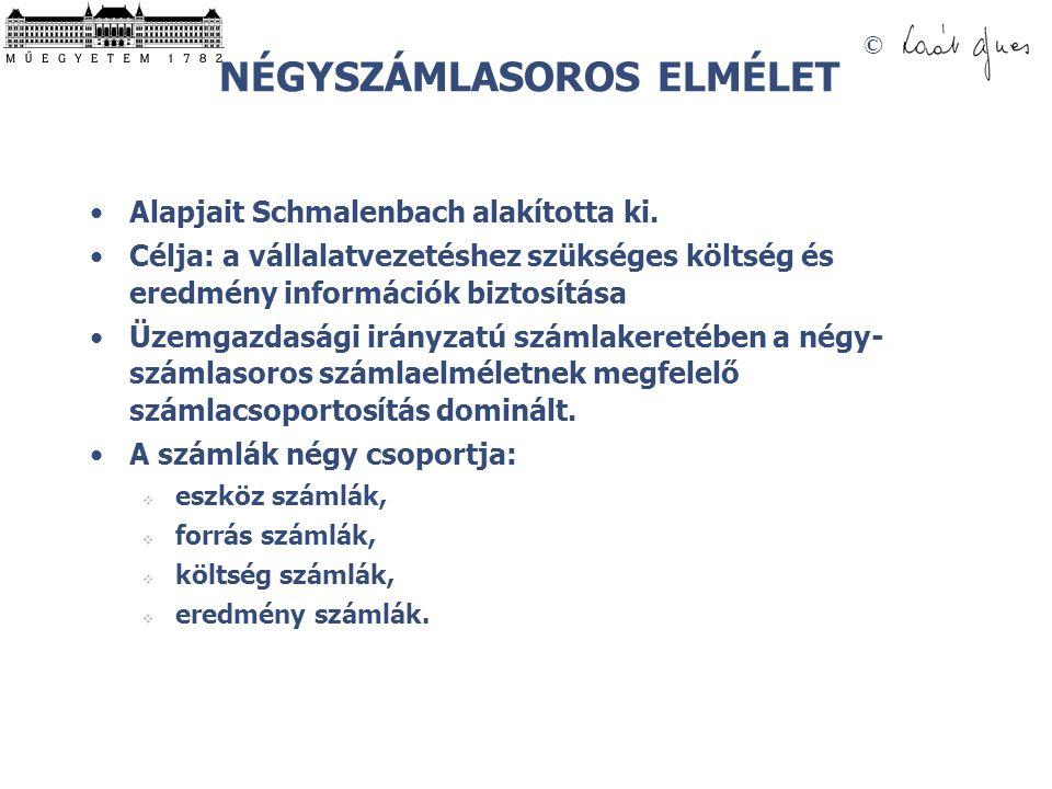 © NÉGYSZÁMLASOROS ELMÉLET •Alapjait Schmalenbach alakította ki. •Célja: a vállalatvezetéshez szükséges költség és eredmény információk biztosítása •Üz