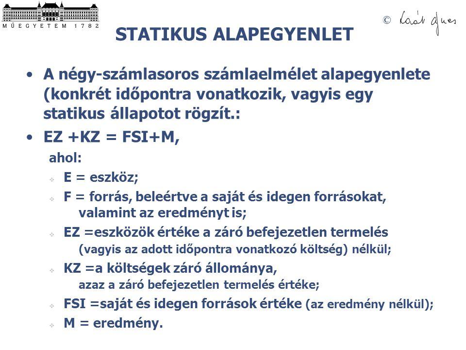 © STATIKUS ALAPEGYENLET •A négy-számlasoros számlaelmélet alapegyenlete (konkrét időpontra vonatkozik, vagyis egy statikus állapotot rögzít.: •EZ +KZ