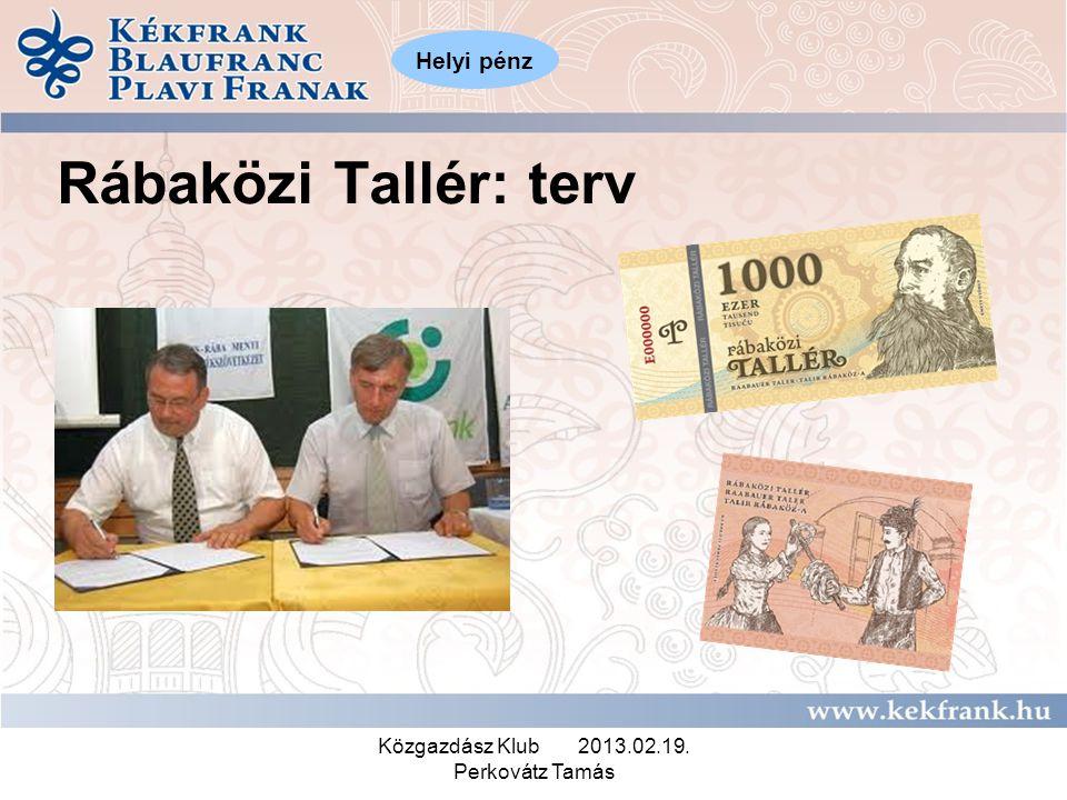 Közgazdász Klub 2013.02.19. Perkovátz Tamás Rábaközi Tallér: terv Helyi pénz