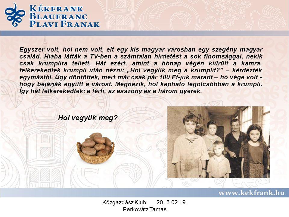 Közgazdász Klub 2013.02.19. Perkovátz Tamás Egyszer volt, hol nem volt, élt egy kis magyar városban egy szegény magyar család. Hiába látták a TV-ben a