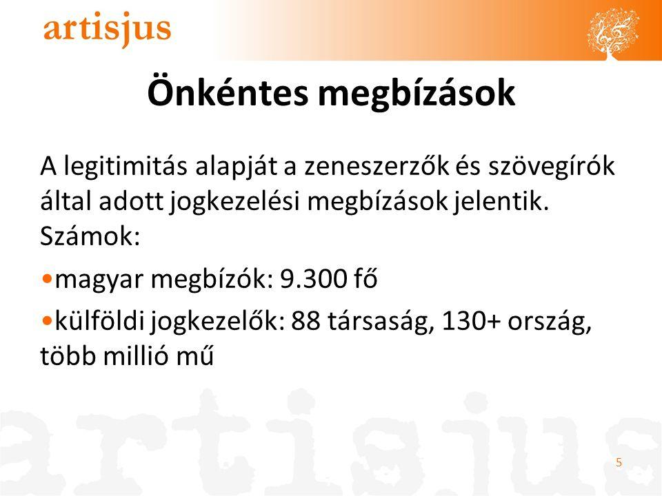 Önkéntes megbízások A legitimitás alapját a zeneszerzők és szövegírók által adott jogkezelési megbízások jelentik. Számok: •magyar megbízók: 9.300 fő