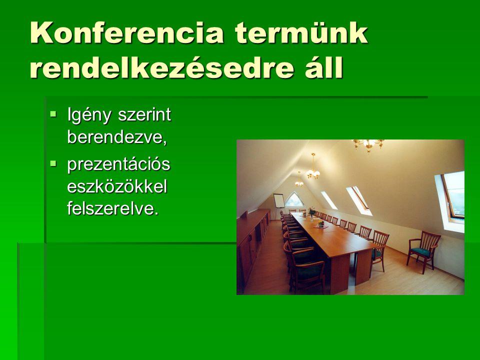 Konferencia termünk rendelkezésedre áll  Igény szerint berendezve,  prezentációs eszközökkel felszerelve.