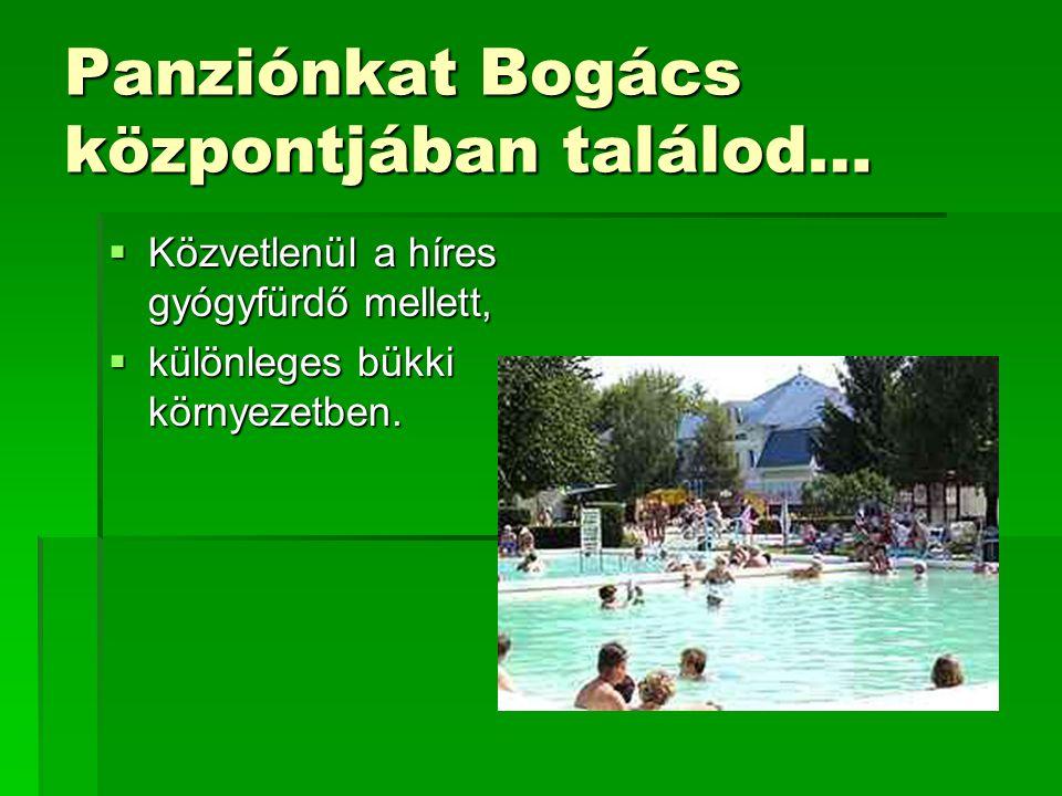 Panziónkat Bogács központjában találod…  Közvetlenül a híres gyógyfürdő mellett,  különleges bükki környezetben.