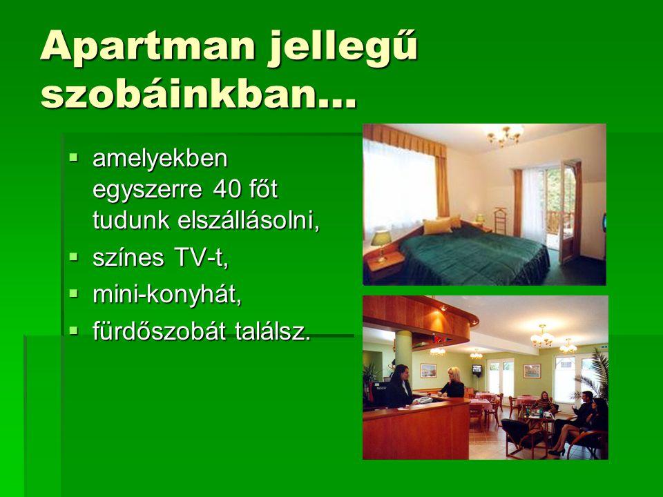 Apartman jellegű szobáinkban…  amelyekben egyszerre 40 főt tudunk elszállásolni,  színes TV-t,  mini-konyhát,  fürdőszobát találsz.