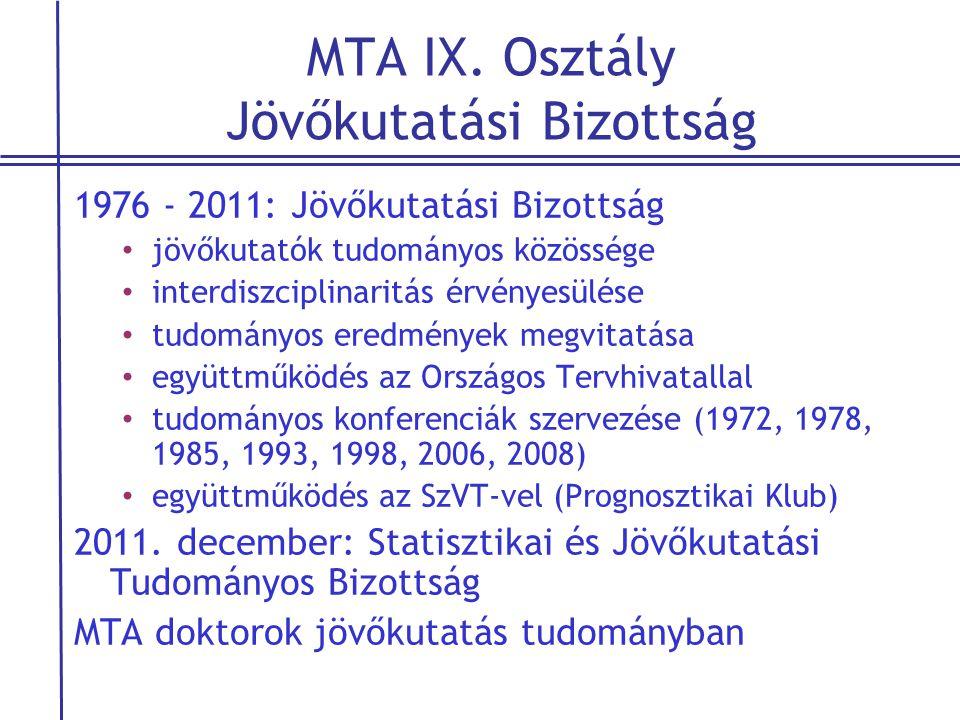 MTA IX. Osztály Jövőkutatási Bizottság 1976 - 2011: Jövőkutatási Bizottság • jövőkutatók tudományos közössége • interdiszciplinaritás érvényesülése •