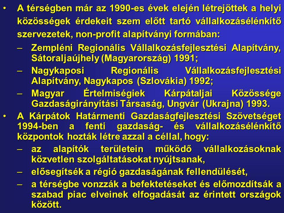 •A térségben már az 1990-es évek elején létrejöttek a helyi közösségek érdekeit szem előtt tartó vállalkozásélénkítő szervezetek, non-profit alapítványi formában: –Zempléni Regionális Vállalkozásfejlesztési Alapítvány, Sátoraljaújhely (Magyarország) 1991; –Nagykaposi Regionális Vállalkozásfejlesztési Alapítvány, Nagykapos (Szlovákia) 1992; –Magyar Értelmiségiek Kárpátaljai Közössége Gazdaságirányítási Társaság, Ungvár (Ukrajna) 1993.