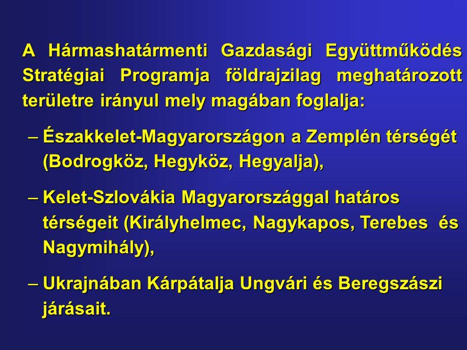 A Hármashatármenti Gazdasági Együttműködés Stratégiai Programja földrajzilag meghatározott területre irányul mely magában foglalja: –Északkelet-Magyarországon a Zemplén térségét (Bodrogköz, Hegyköz, Hegyalja), –Kelet-Szlovákia Magyarországgal határos térségeit (Királyhelmec, Nagykapos, Terebes és Nagymihály), –Ukrajnában Kárpátalja Ungvári és Beregszászi járásait.