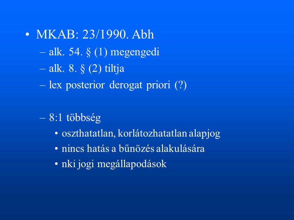 •MKAB: 23/1990. Abh –alk. 54. § (1) megengedi –alk. 8. § (2) tiltja –lex posterior derogat priori (?) –8:1 többség •oszthatatlan, korlátozhatatlan ala