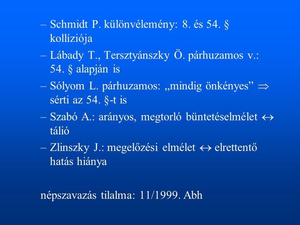 """–Schmidt P. különvélemény: 8. és 54. § kollíziója –Lábady T., Tersztyánszky Ö. párhuzamos v.: 54. § alapján is –Sólyom L. párhuzamos: """"mindig önkényes"""
