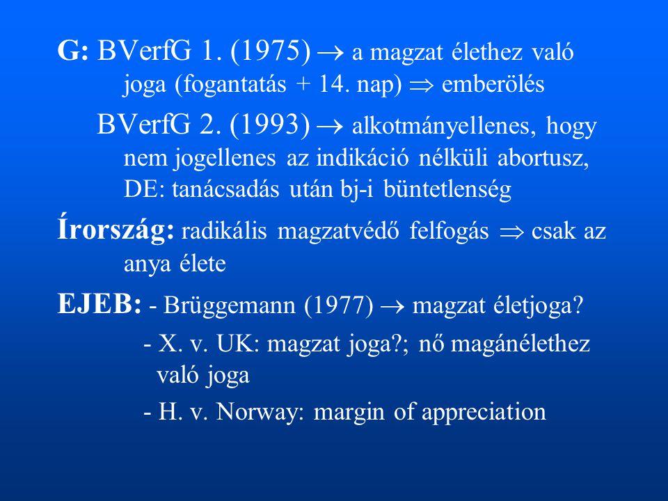G: BVerfG 1. (1975)  a magzat élethez való joga (fogantatás + 14. nap)  emberölés BVerfG 2. (1993)  alkotmányellenes, hogy nem jogellenes az indiká