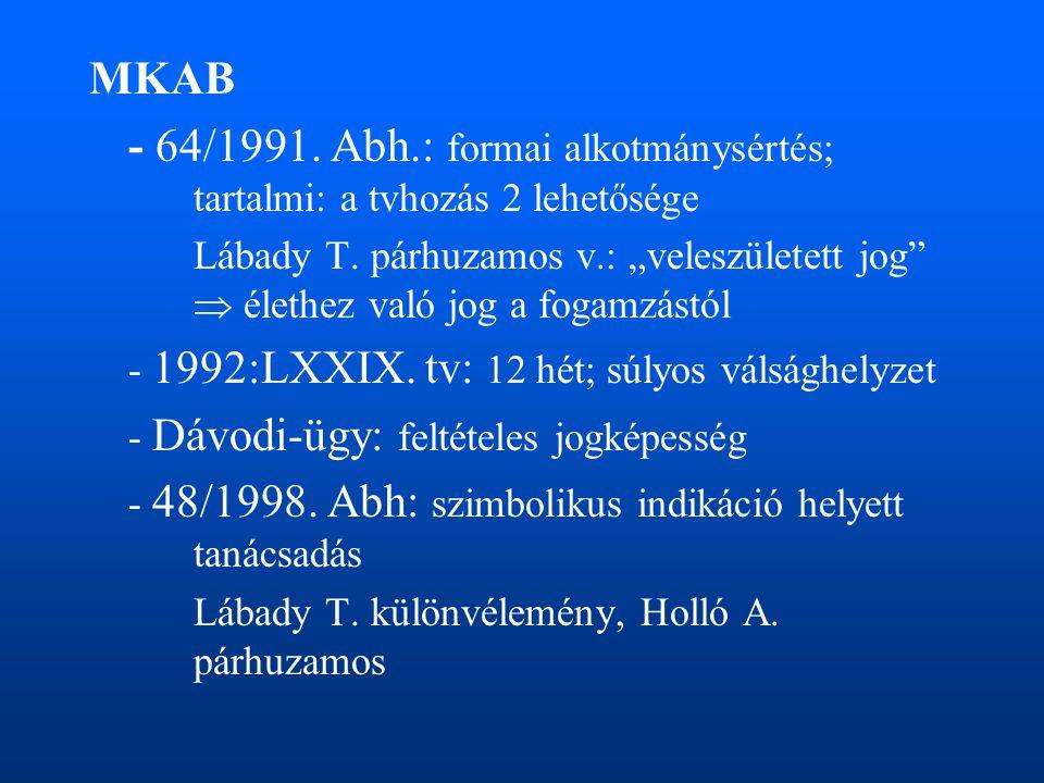 """MKAB - 64/1991. Abh.: formai alkotmánysértés; tartalmi: a tvhozás 2 lehetősége Lábady T. párhuzamos v.: """"veleszületett jog""""  élethez való jog a fogam"""