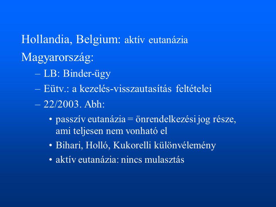 Hollandia, Belgium: aktív eutanázia Magyarország: –LB: Binder-ügy –Eütv.: a kezelés-visszautasítás feltételei –22/2003. Abh: •passzív eutanázia = önre