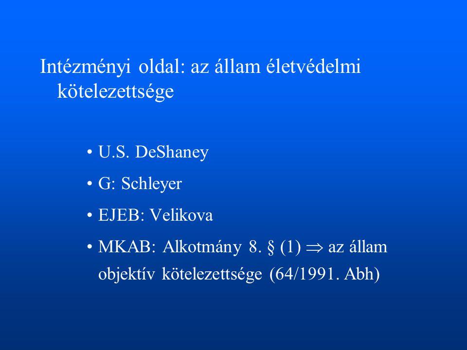 Intézményi oldal: az állam életvédelmi kötelezettsége •U.S. DeShaney •G: Schleyer •EJEB: Velikova •MKAB: Alkotmány 8. § (1)  az állam objektív kötele
