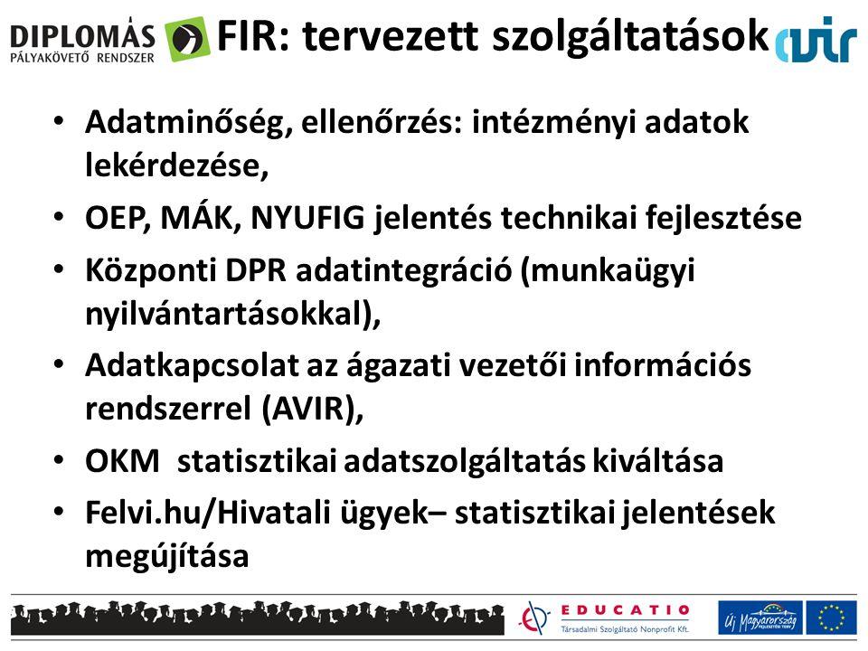FIR: tervezett szolgáltatások • Adatminőség, ellenőrzés: intézményi adatok lekérdezése, • OEP, MÁK, NYUFIG jelentés technikai fejlesztése • Központi DPR adatintegráció (munkaügyi nyilvántartásokkal), • Adatkapcsolat az ágazati vezetői információs rendszerrel (AVIR), • OKM statisztikai adatszolgáltatás kiváltása • Felvi.hu/Hivatali ügyek– statisztikai jelentések megújítása