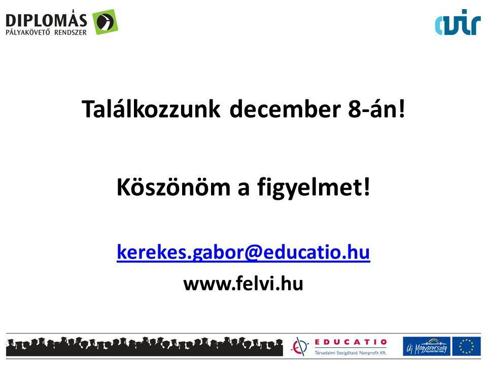Találkozzunk december 8-án! Köszönöm a figyelmet! kerekes.gabor@educatio.hu www.felvi.hu
