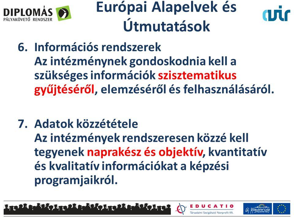 6.Információs rendszerek Az intézménynek gondoskodnia kell a szükséges információk szisztematikus gyűjtéséről, elemzéséről és felhasználásáról. 7.Adat