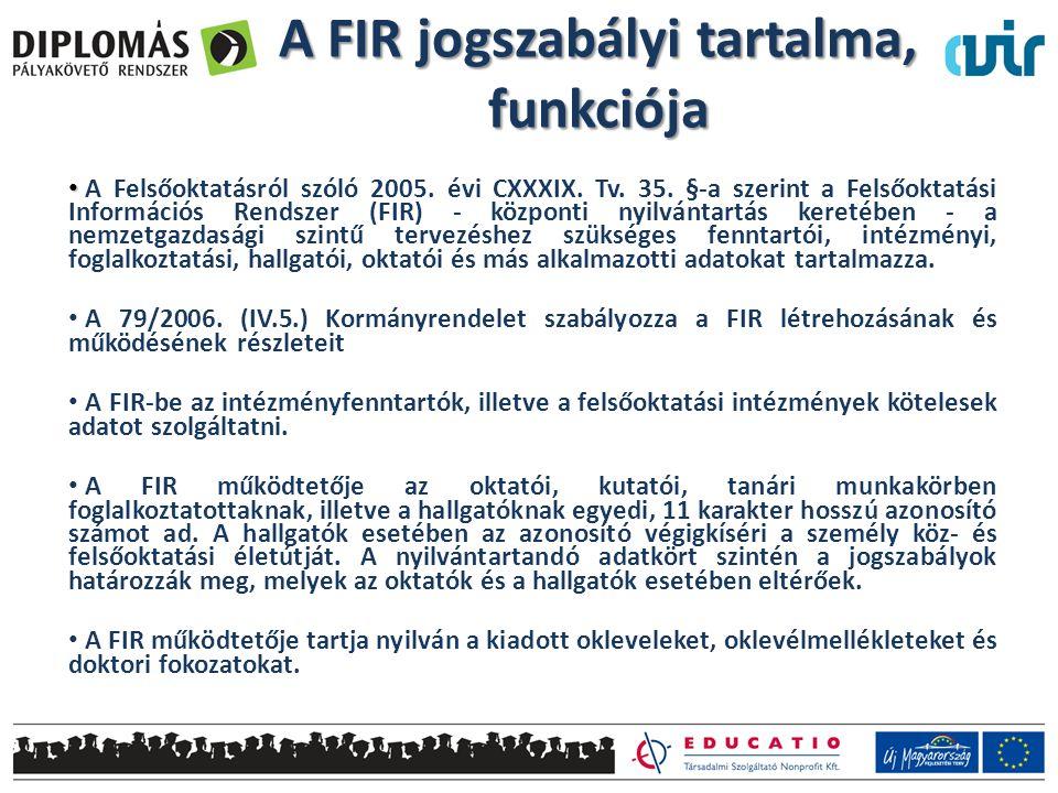 A FIR jogszabályi tartalma, funkciója • • A Felsőoktatásról szóló 2005. évi CXXXIX. Tv. 35. §-a szerint a Felsőoktatási Információs Rendszer (FIR) - k
