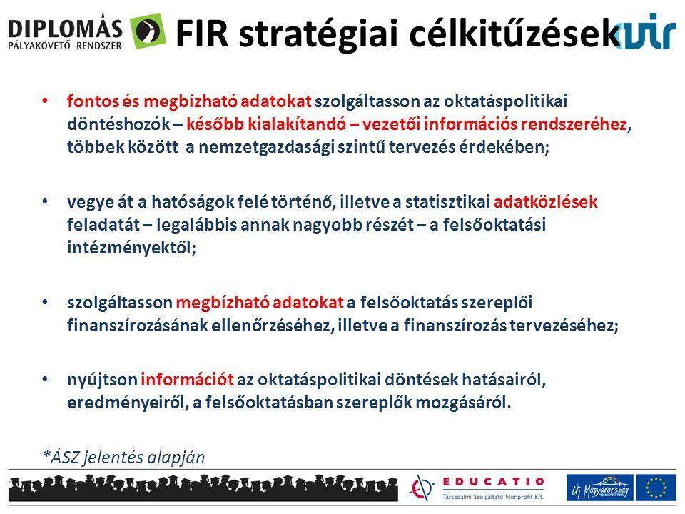 FIR stratégiai célkitűzések • fontos és megbízható adatokat szolgáltasson az oktatáspolitikai döntéshozók – később kialakítandó – vezetői információs rendszeréhez, többek között a nemzetgazdasági szintű tervezés érdekében; • vegye át a hatóságok felé történő, illetve a statisztikai adatközlések feladatát – legalábbis annak nagyobb részét – a felsőoktatási intézményektől; • szolgáltasson megbízható adatokat a felsőoktatás szereplői finanszírozásának ellenőrzéséhez, illetve a finanszírozás tervezéséhez; • nyújtson információt az oktatáspolitikai döntések hatásairól, eredményeiről, a felsőoktatásban szereplők mozgásáról.