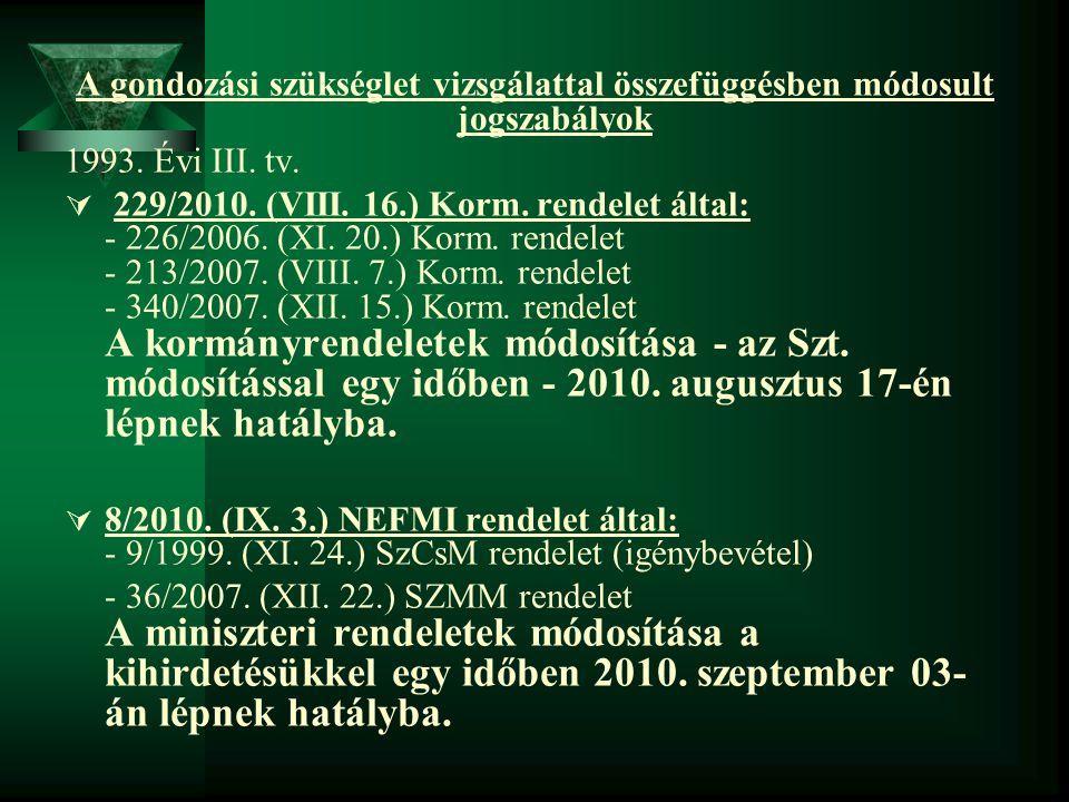 A gondozási szükséglet vizsgálattal összefüggésben módosult jogszabályok 1993. Évi III. tv.  229/2010. (VIII. 16.) Korm. rendelet által: - 226/2006.