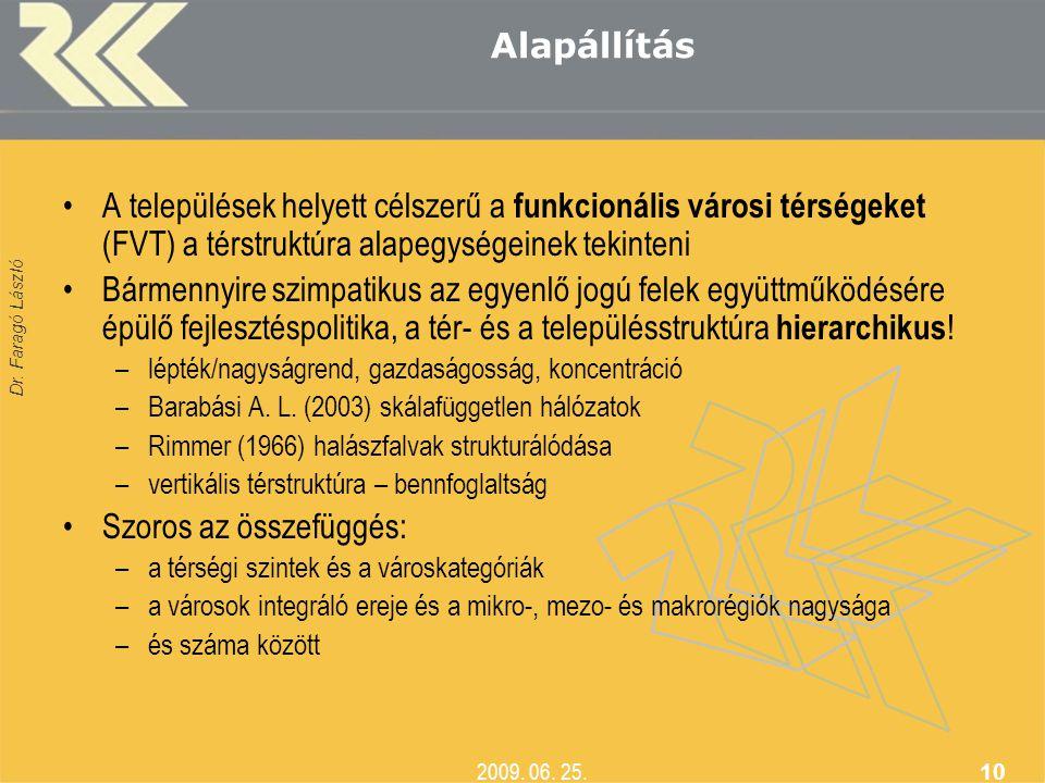 Dr. Faragó László 2009. 06. 25. 10 Alapállítás •A települések helyett célszerű a funkcionális városi térségeket (FVT) a térstruktúra alapegységeinek t
