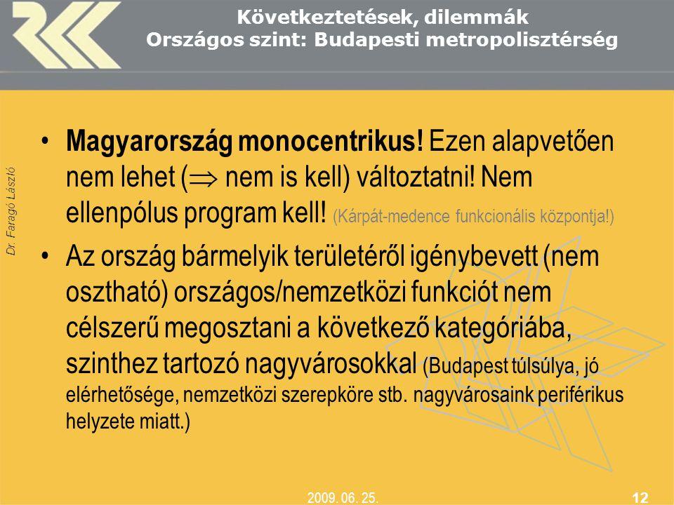 Dr. Faragó László 2009. 06. 25. 12 Következtetések, dilemmák Országos szint: Budapesti metropolisztérség • Magyarország monocentrikus! Ezen alapvetően