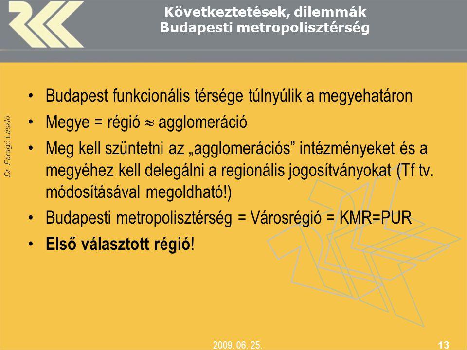Dr. Faragó László 2009. 06. 25. 13 Következtetések, dilemmák Budapesti metropolisztérség •Budapest funkcionális térsége túlnyúlik a megyehatáron •Megy