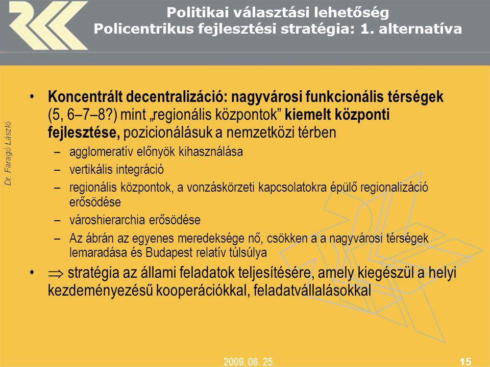 Dr. Faragó László 2009. 06. 25. 15 Politikai választási lehetőség Policentrikus fejlesztési stratégia: 1. alternatíva • Koncentrált decentralizáció: n
