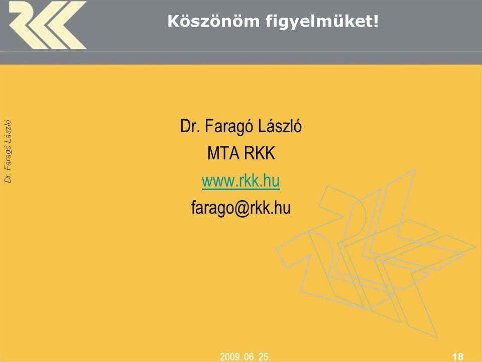 Dr. Faragó László 2009. 06. 25. 18 Köszönöm figyelmüket! Dr. Faragó László MTA RKK www.rkk.hu farago@rkk.hu