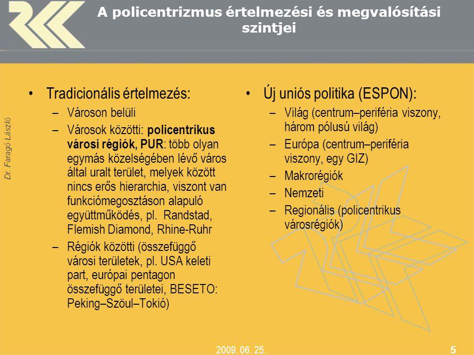 Dr. Faragó László 2009. 06. 25. 5 A policentrizmus értelmezési és megvalósítási szintjei •Tradicionális értelmezés: –Városon belüli –Városok közötti: