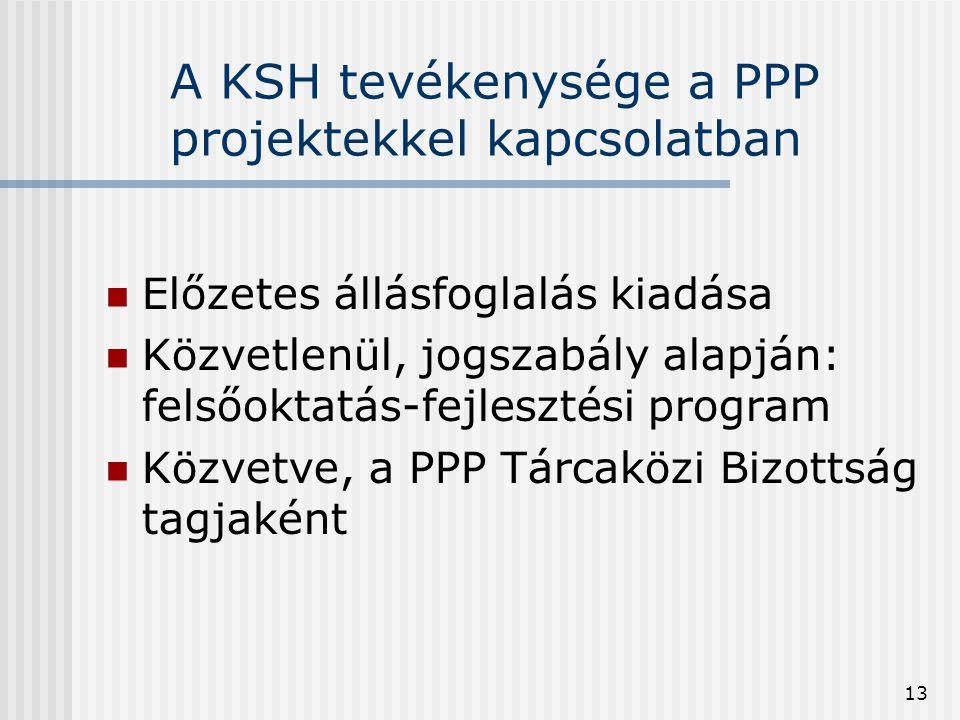 13 A KSH tevékenysége a PPP projektekkel kapcsolatban  Előzetes állásfoglalás kiadása  Közvetlenül, jogszabály alapján: felsőoktatás-fejlesztési pro