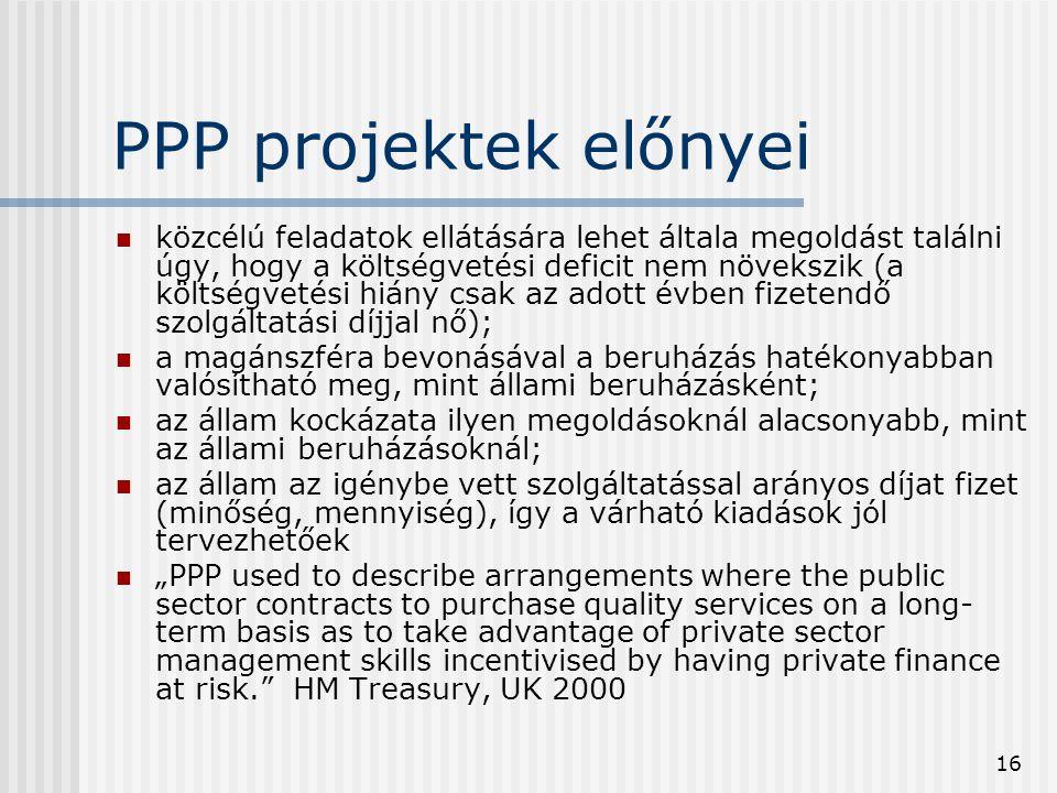 16 PPP projektek előnyei  közcélú feladatok ellátására lehet általa megoldást találni úgy, hogy a költségvetési deficit nem növekszik (a költségvetés