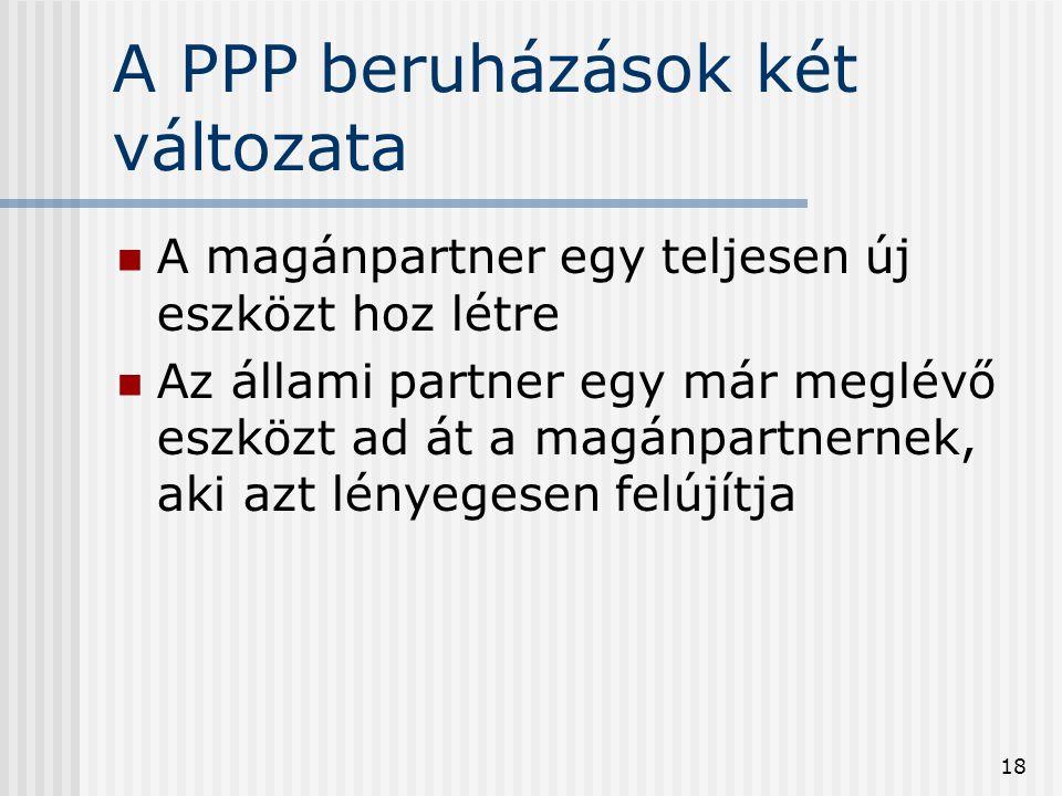 18 A PPP beruházások két változata  A magánpartner egy teljesen új eszközt hoz létre  Az állami partner egy már meglévő eszközt ad át a magánpartner
