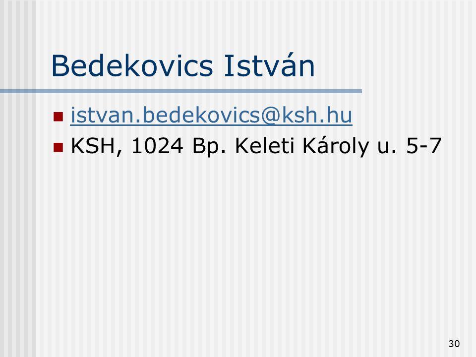 30 Bedekovics István  istvan.bedekovics@ksh.hu istvan.bedekovics@ksh.hu  KSH, 1024 Bp. Keleti Károly u. 5-7