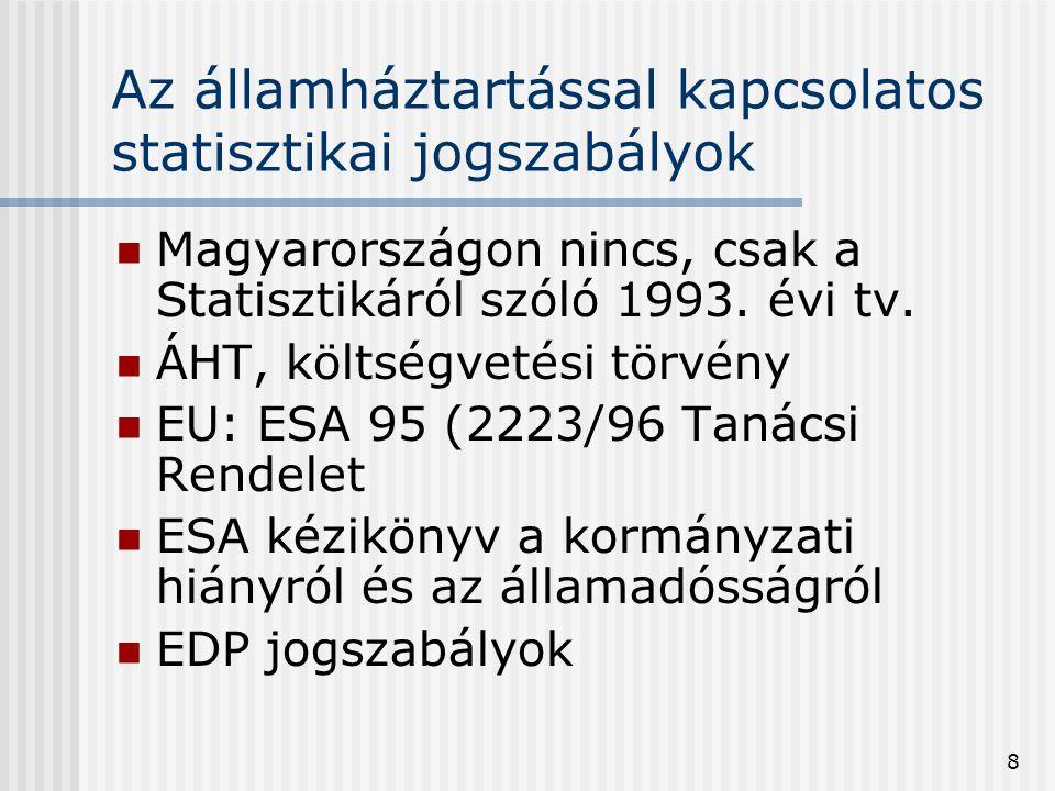 8 Az államháztartással kapcsolatos statisztikai jogszabályok  Magyarországon nincs, csak a Statisztikáról szóló 1993. évi tv.  ÁHT, költségvetési tö