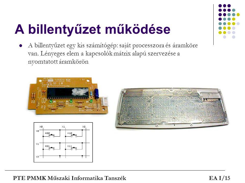 A billentyűzet működése PTE PMMK Műszaki Informatika TanszékEA I/15  A billentyűzet egy kis számítógép: saját processzora és áramköre van. Lényeges e