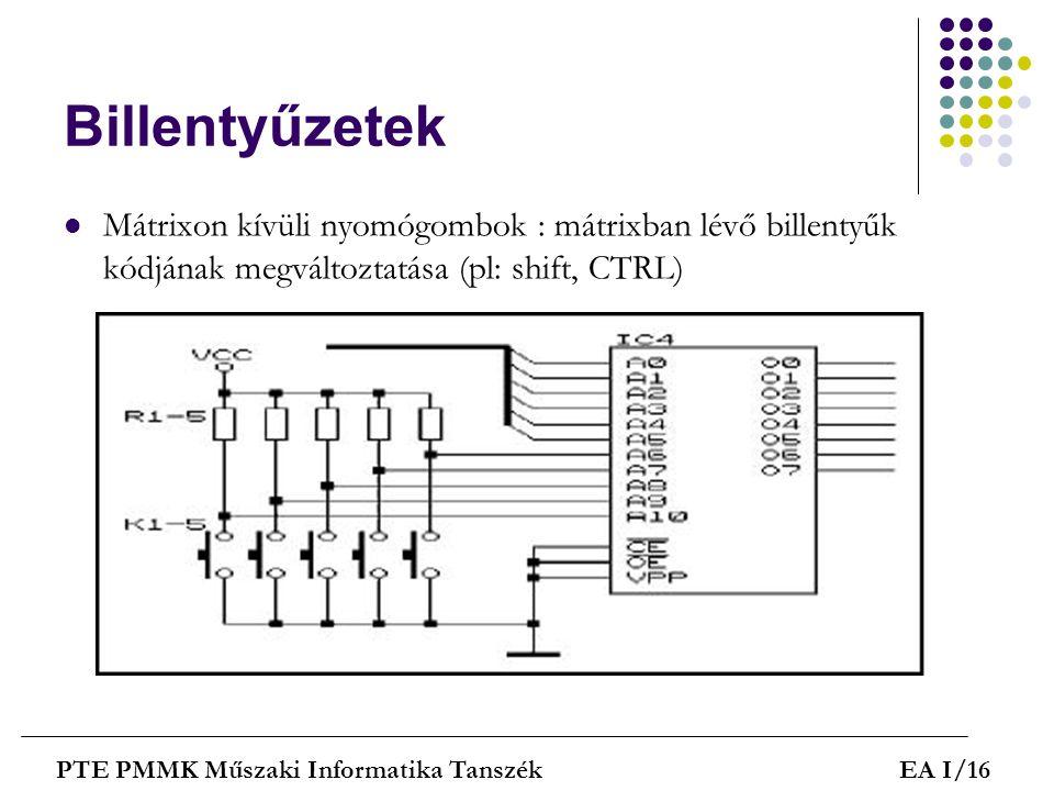 Billentyűzetek  Mátrixon kívüli nyomógombok : mátrixban lévő billentyűk kódjának megváltoztatása (pl: shift, CTRL) PTE PMMK Műszaki Informatika Tansz